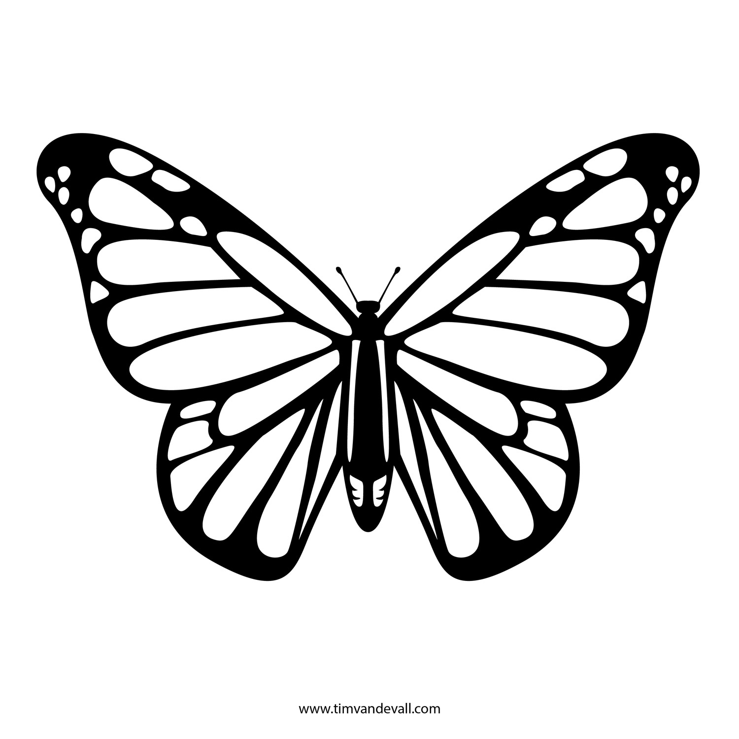 Free Butterfly Stencil | Monarch Butterfly Outline And Silhouette - Free Printable Butterfly