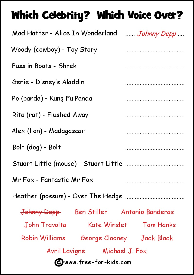 Free Celebrity Quiz Sheets - Free Printable Picture Quizzes With Answers