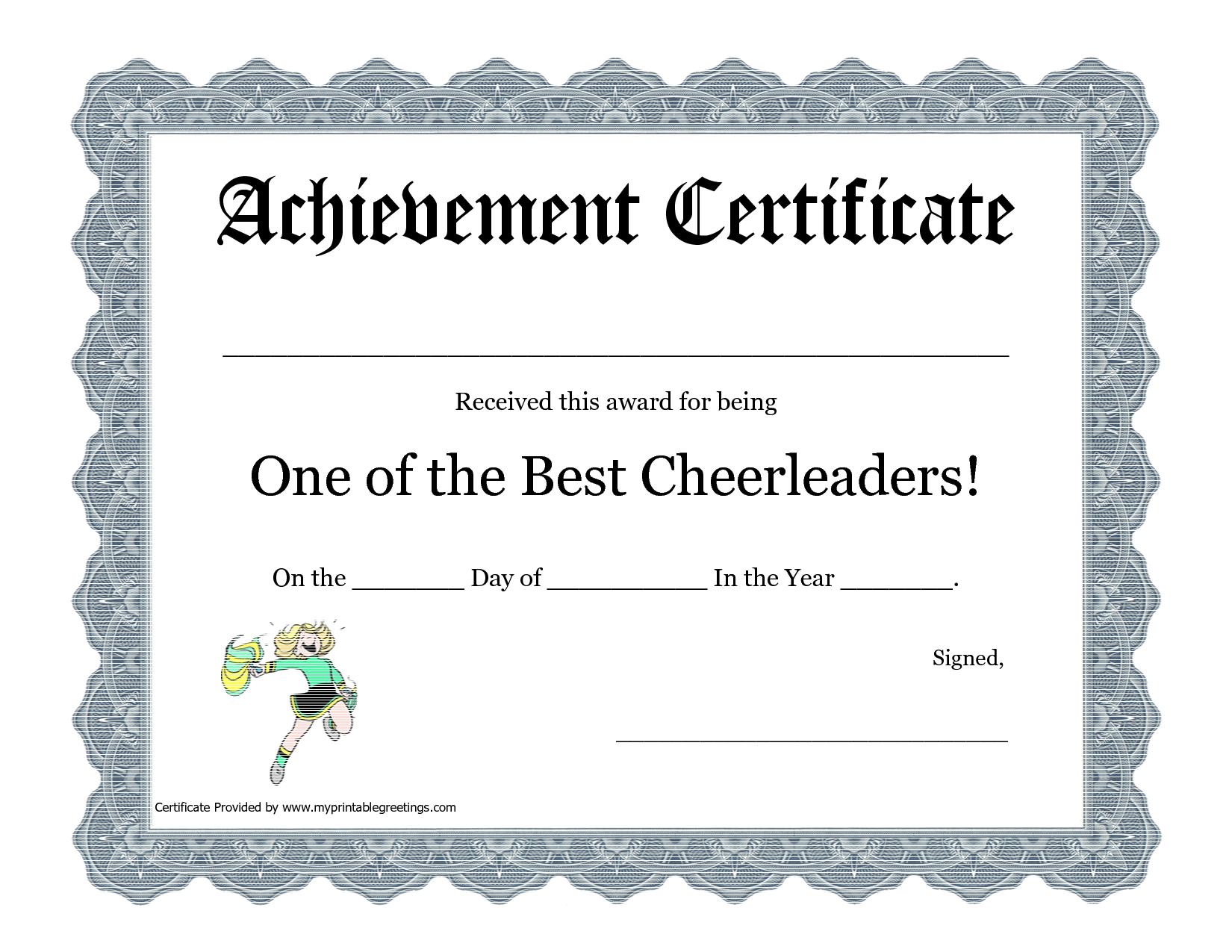 Free Cheerleading Printables   Best Cheerleader Printable Awards - Free Printable Cheerleading Certificates