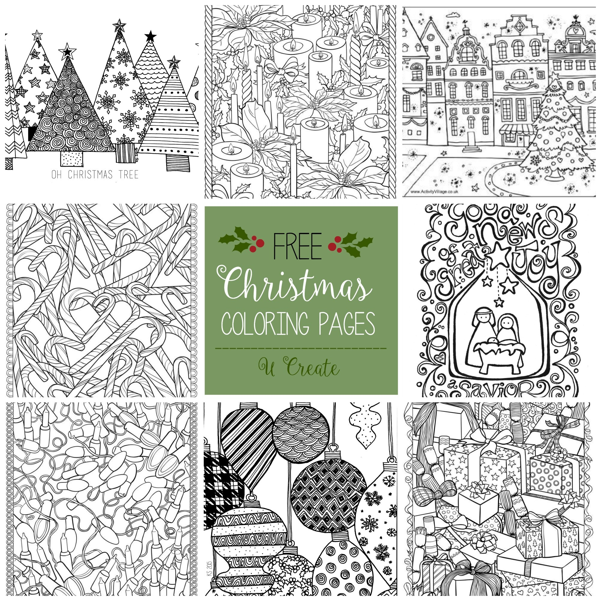 Free Christmas Adult Coloring Pages - U Create - Free Printable Coloring Cards For Adults