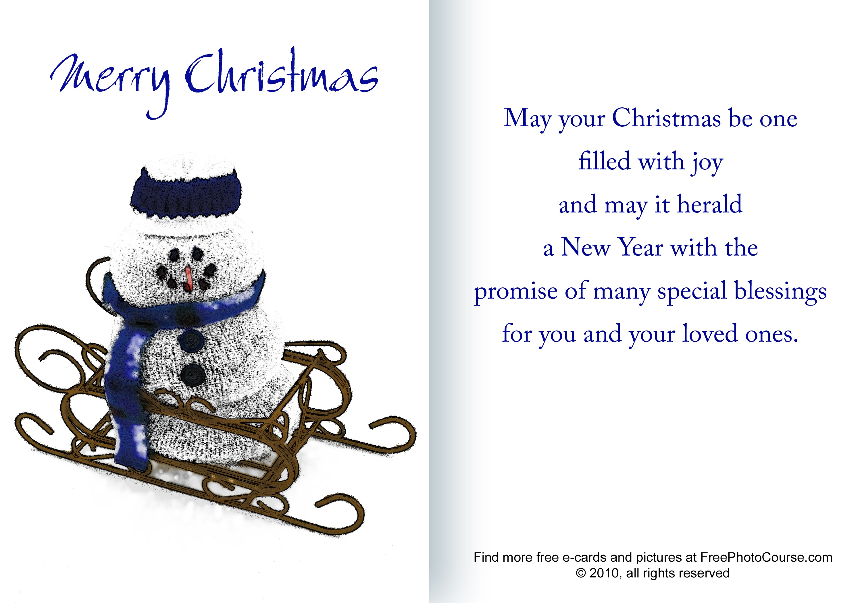 Free Christmas And Holiday Cards And Pictures - Free Online Printable Christmas Cards