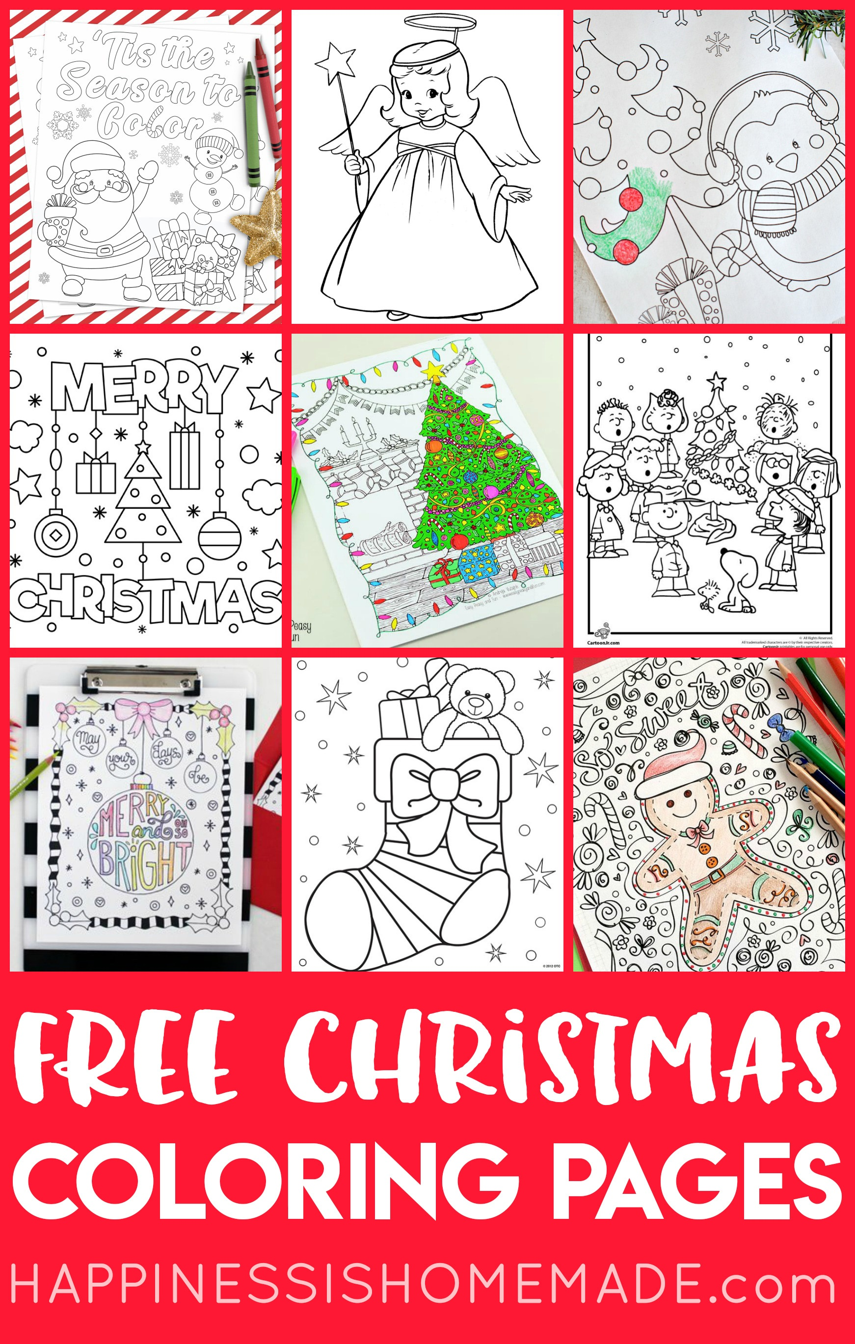 Free Christmas Coloring Pages For Adults And Kids - Happiness Is - Free Printable Christmas Art