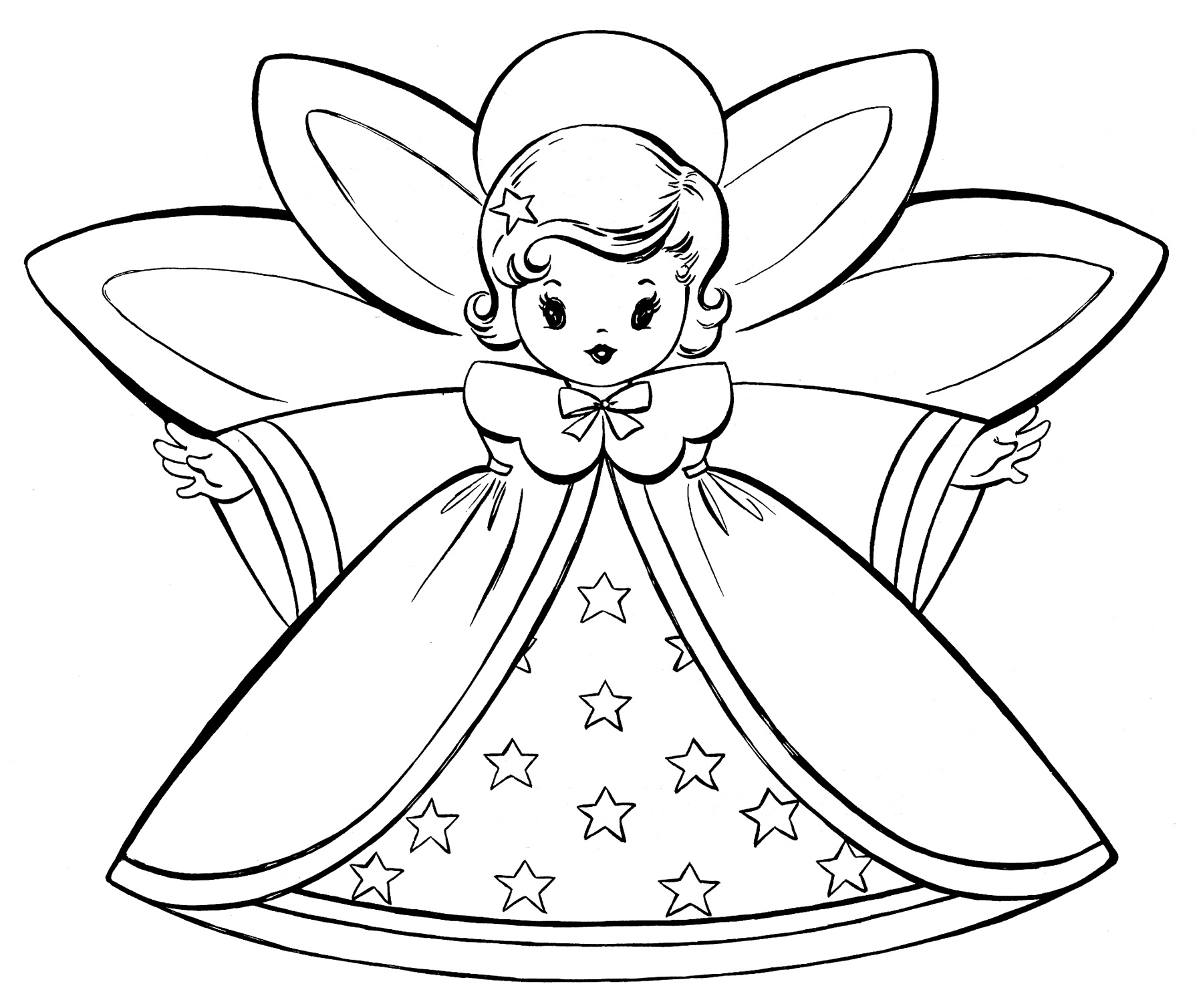 Free Christmas Coloring Pages - Retro Angels - The Graphics Fairy - Free Printable Pictures Of Angels