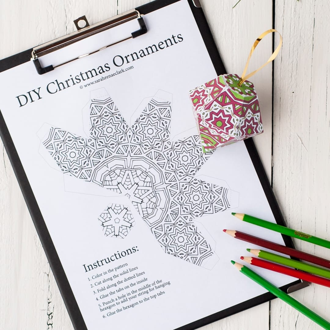 Free Christmas Ornament Template - Sarah Renae Clark - Coloring Book - Free Printable Christmas Ornament Patterns