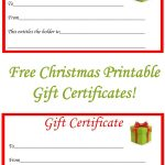 Free Christmas Printable Gift Certificates | Gift Ideas | Christmas   Free Printable Gift Certificate Templates For Massage