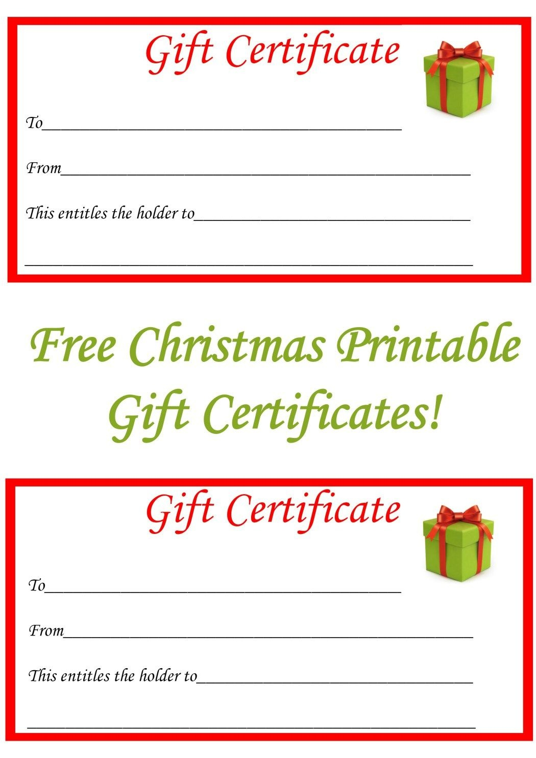 Free Christmas Printable Gift Certificates | Gift Ideas | Christmas - Free Printable Gift Certificate Templates For Massage