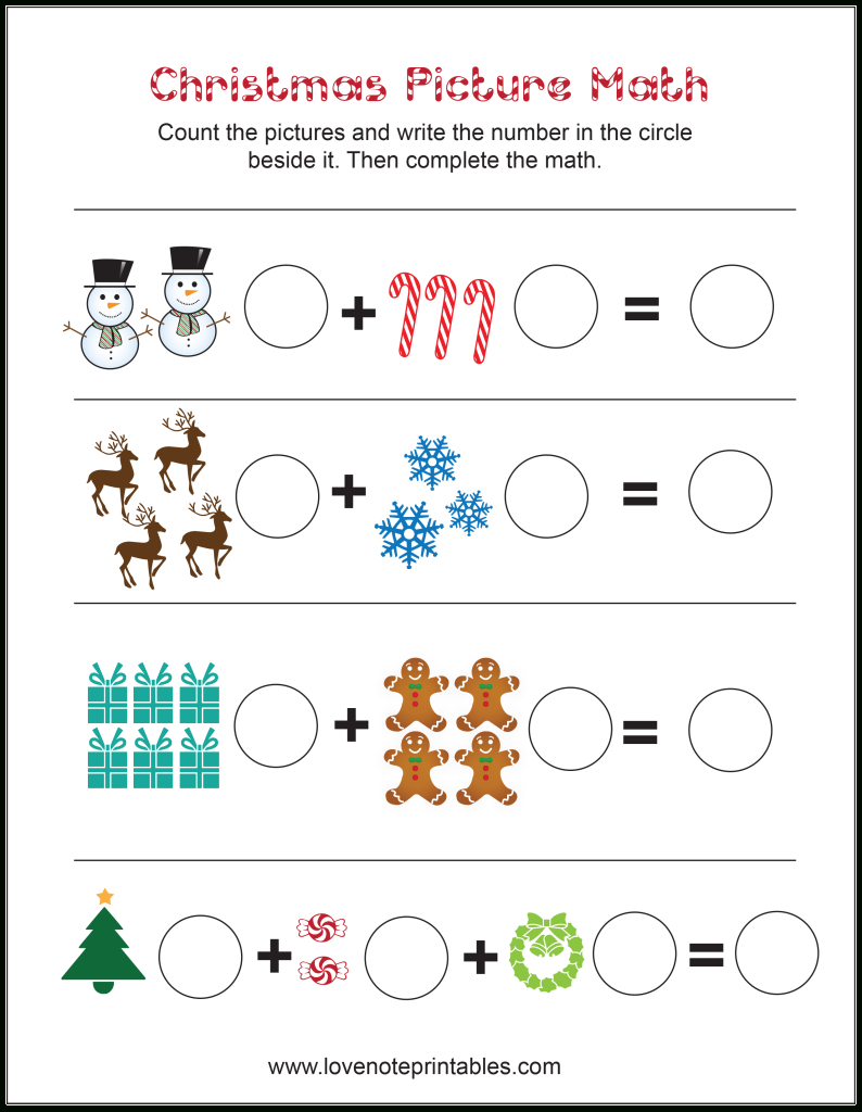 Free Christmas Themed Picture Math Worksheet - Love Note Printables - Free Printable Christmas Maths Worksheets Ks1