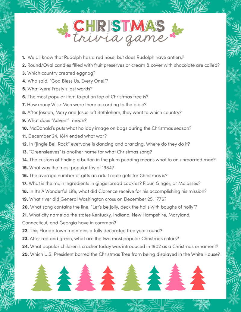 Free Christmas Trivia Game | Lil' Luna - Free Printable Christmas Song Picture Game
