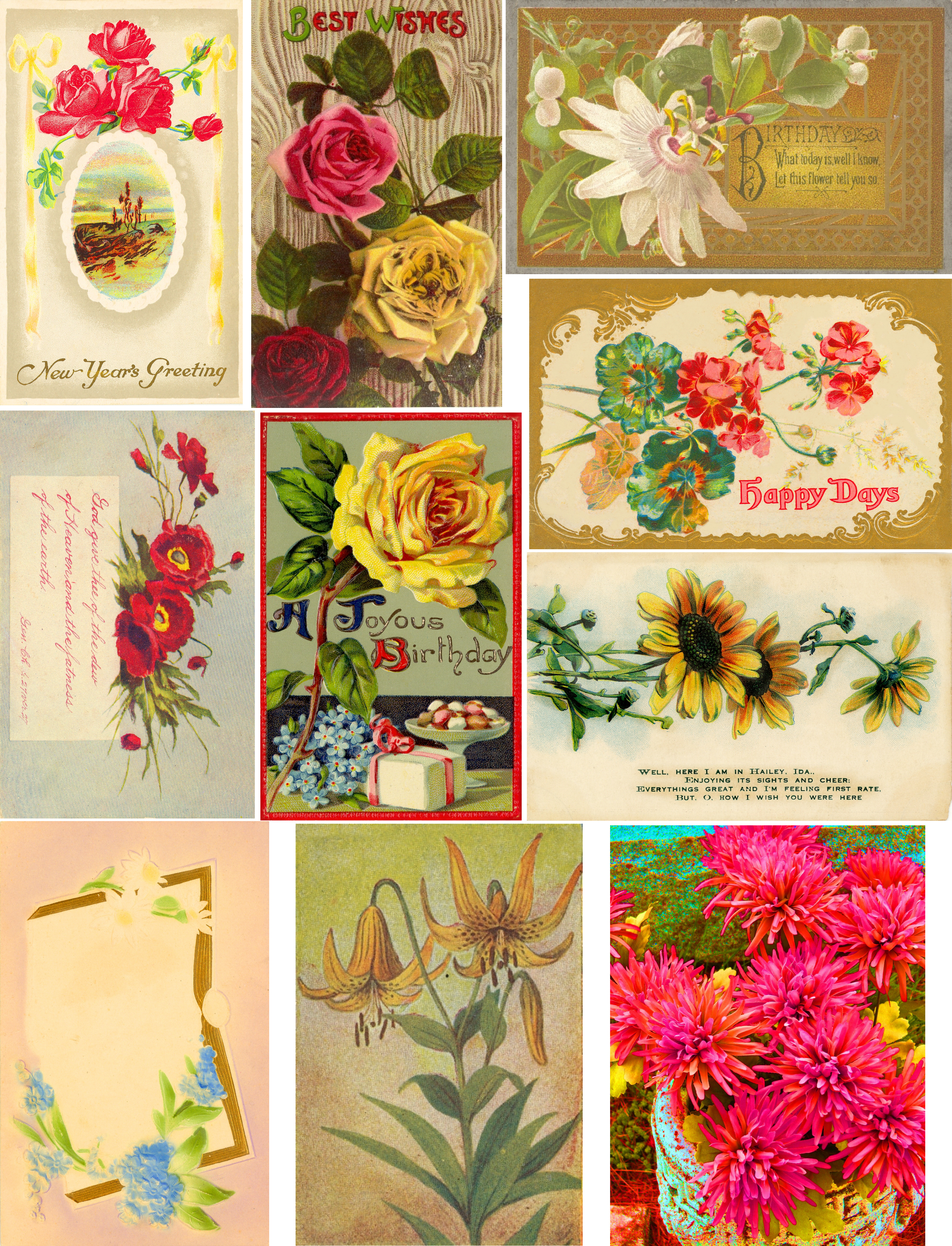 Free Collage Sheetsart And Imagesbykim: Free: Floral Postcards - Free Printable Digital Collage Sheets