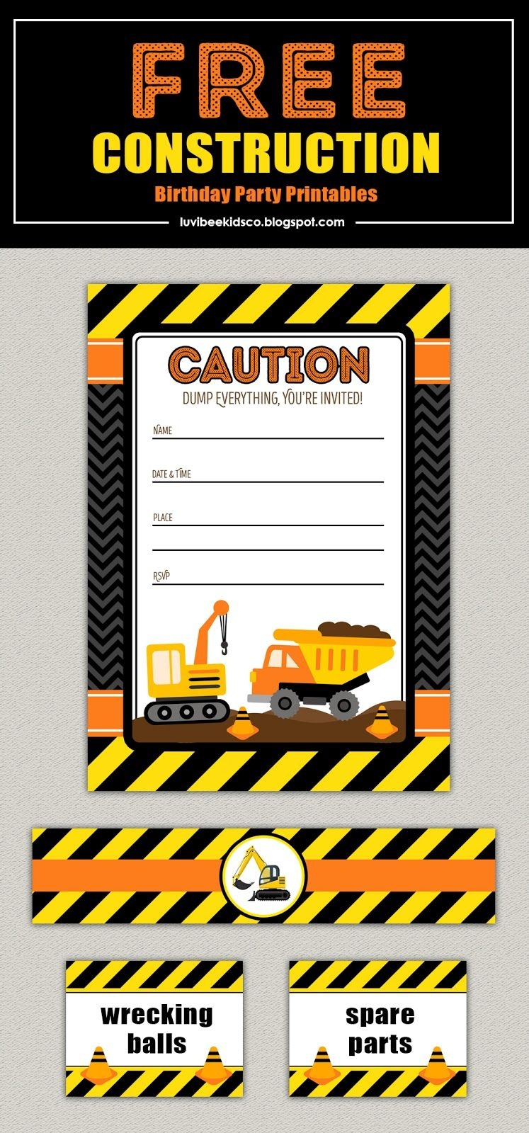 Free Construction Birthday Party Printables. Construction Party - Free Printable Construction Invitations