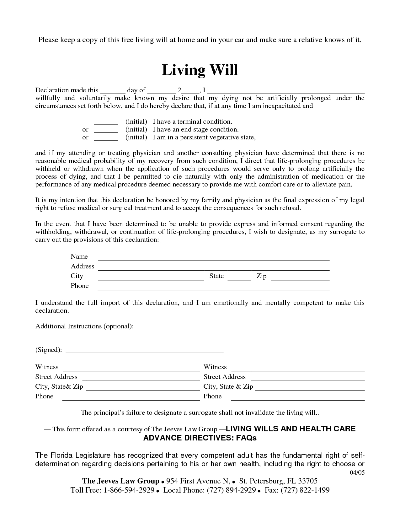 Free Copy Of Living Willrichard_Cataman - Living Will Sample - Free Printable Will Papers