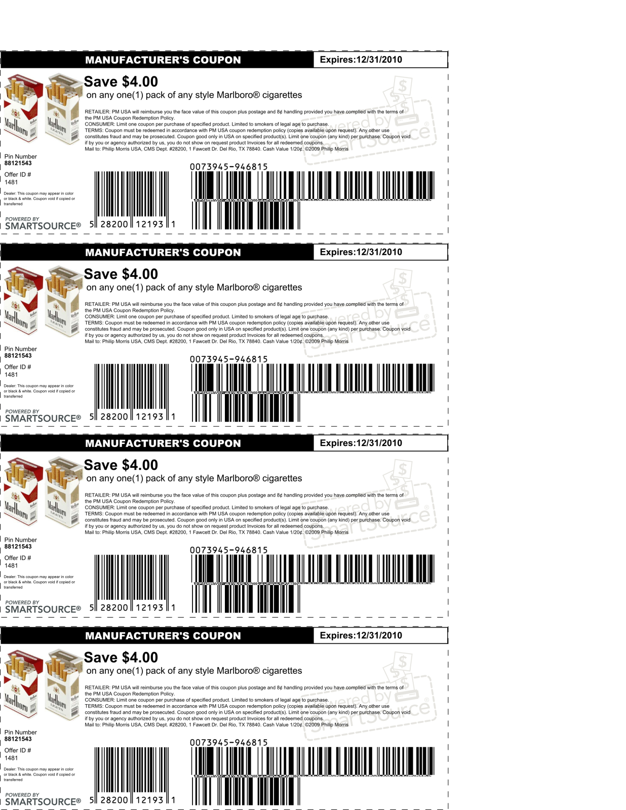 image about Printable Marlboro Coupons named Common $2.50 Off Coupon That Will work For Any Style Of