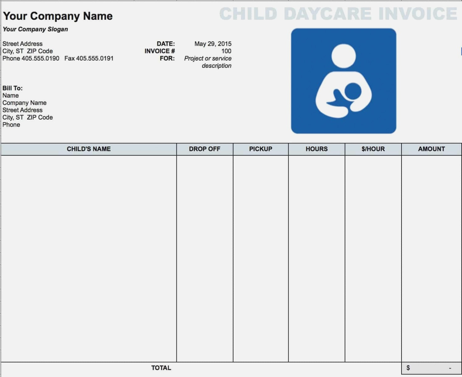 Free Daycare (Child) Invoice Template | Excel | Pdf | Word ( – The - Free Printable Daycare Receipts