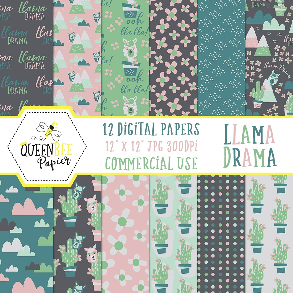 Free Digital (And Printable) Llama Scrapbook Paper • Glitter 'n Spice - Free Printable Scrapbook Paper