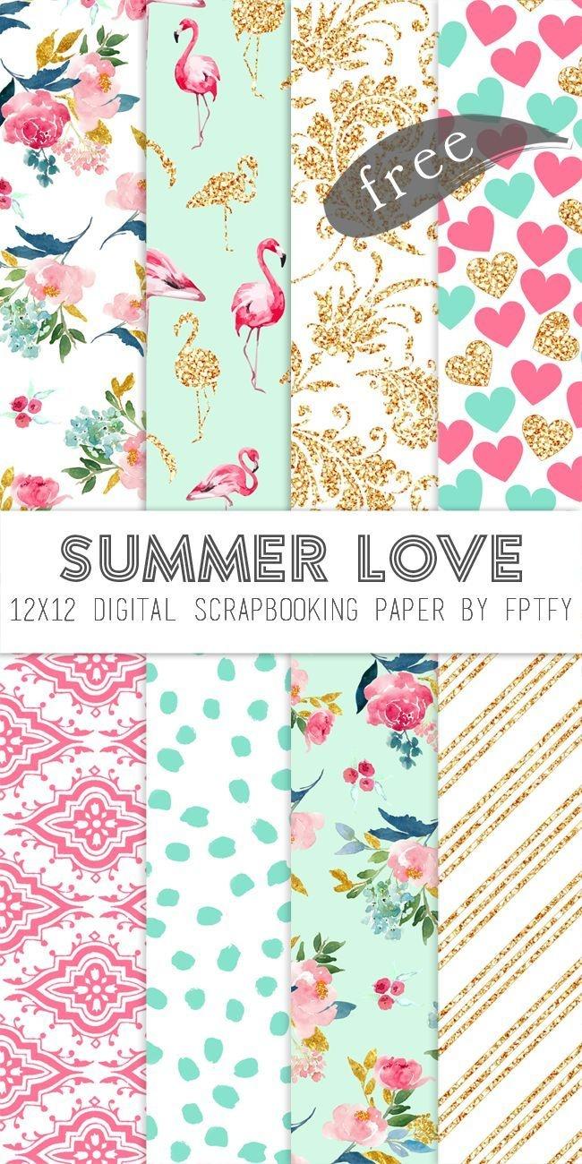 Free Digital Scrapbook Paper-Summer Love | Make - Printables - Free Online Digital Scrapbooking Printable