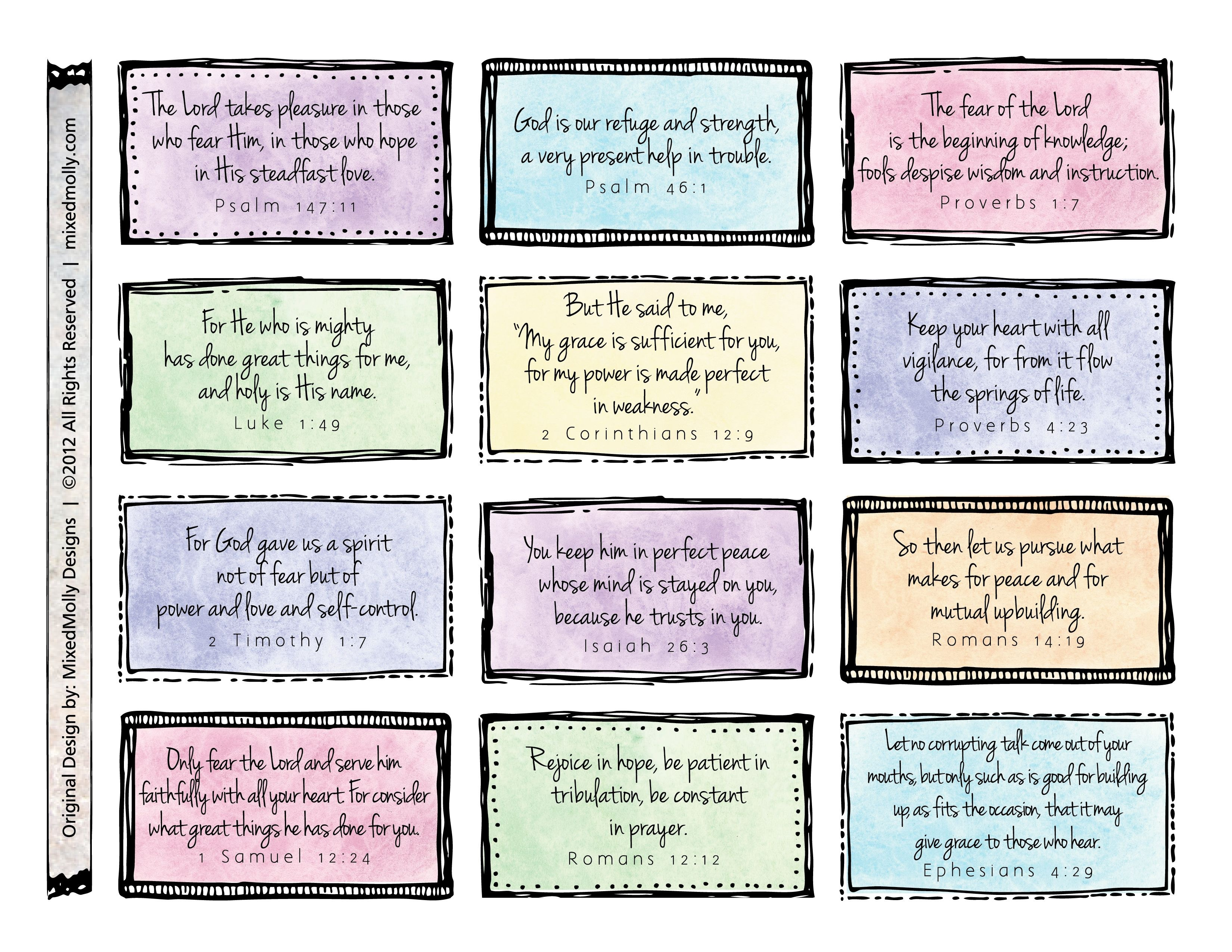 Free Downloadable Scripture Cards. Print On Card Stock And Place On - Free Printable Bible Verse Cards