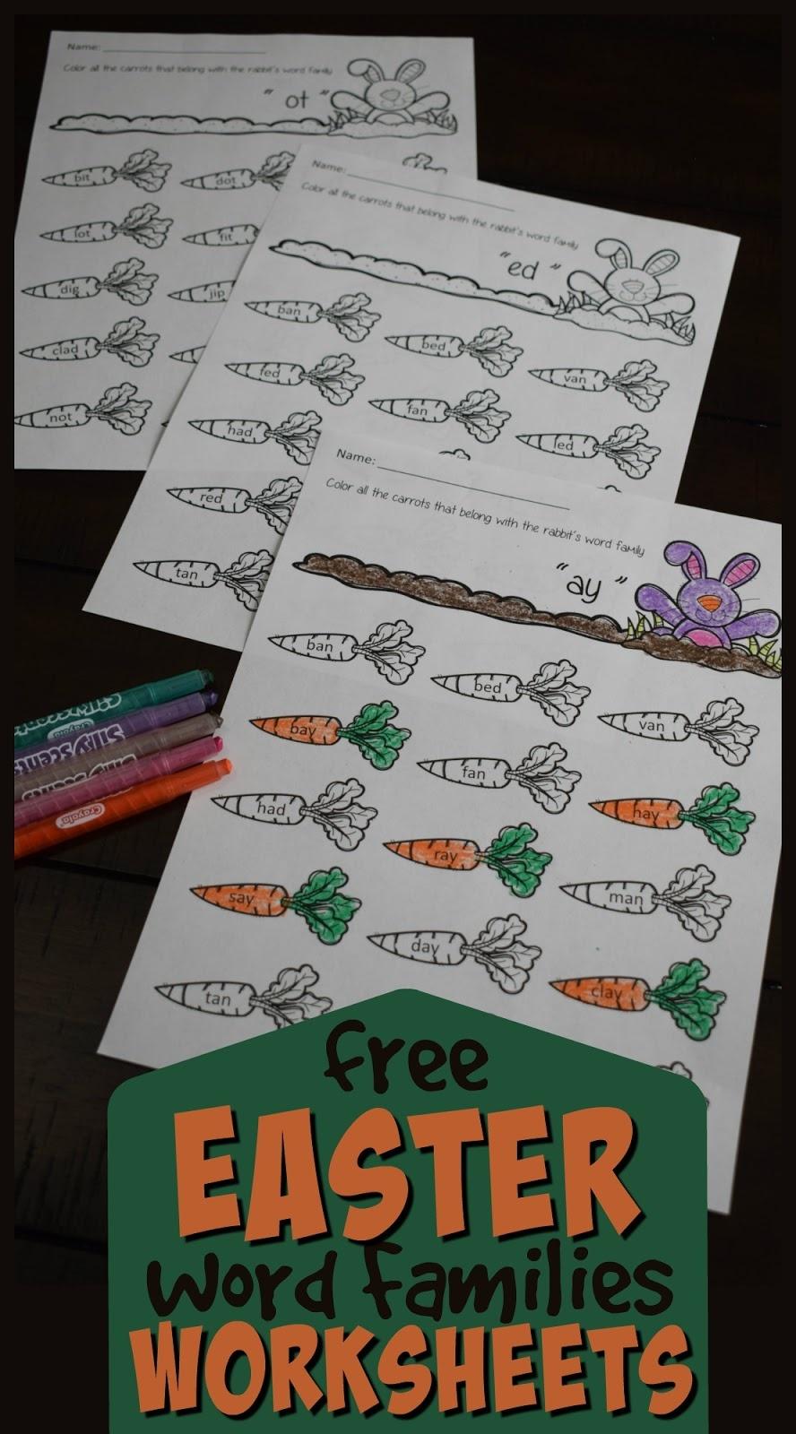Free Easter Word Families Worksheets – Kindergarten Worksheets And Games - Free Printable Word Family Worksheets For Kindergarten