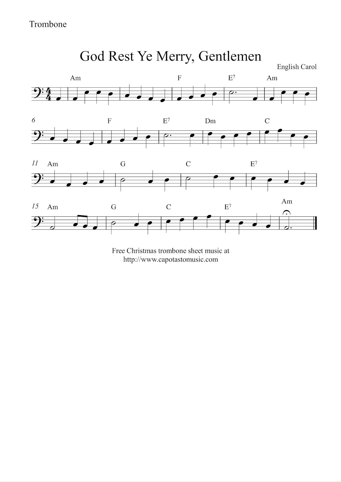 Free Easy Christmas Trombone Sheet Music - God Rest Ye Merry, Gentlemen - Trombone Christmas Sheet Music Free Printable