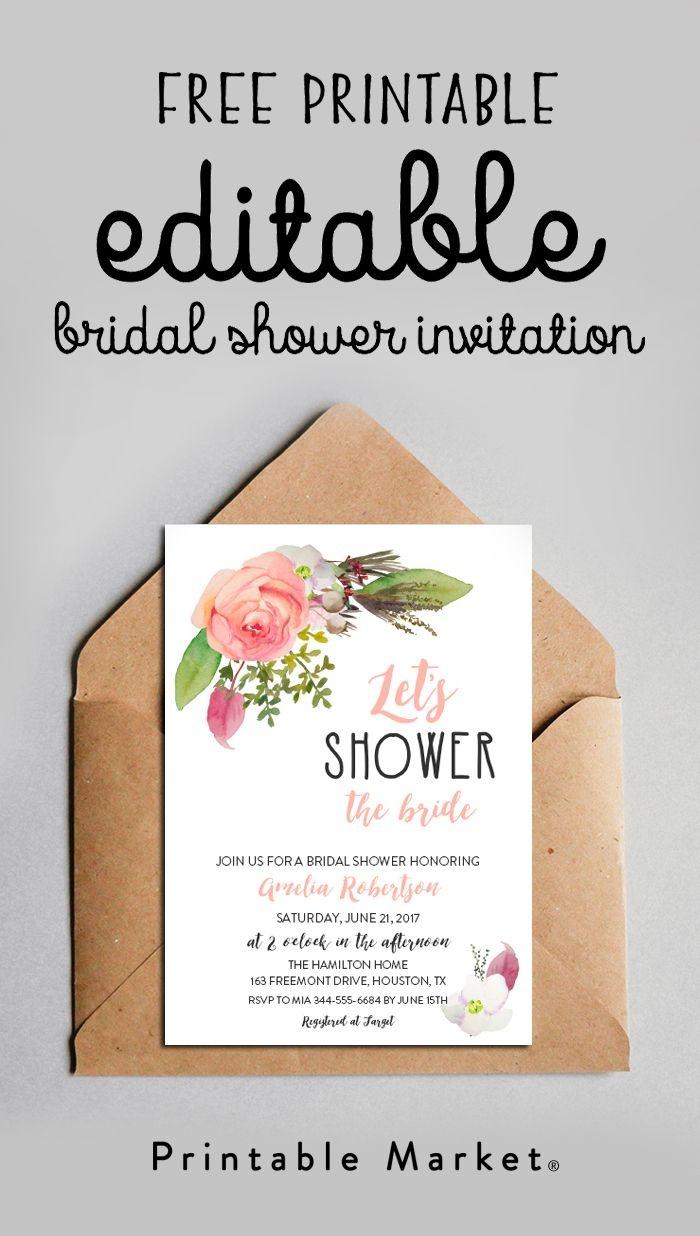 Free Editable Bridal Shower Invitation Watercolor Flowers Pdf - Free Printable Bridal Shower Cards