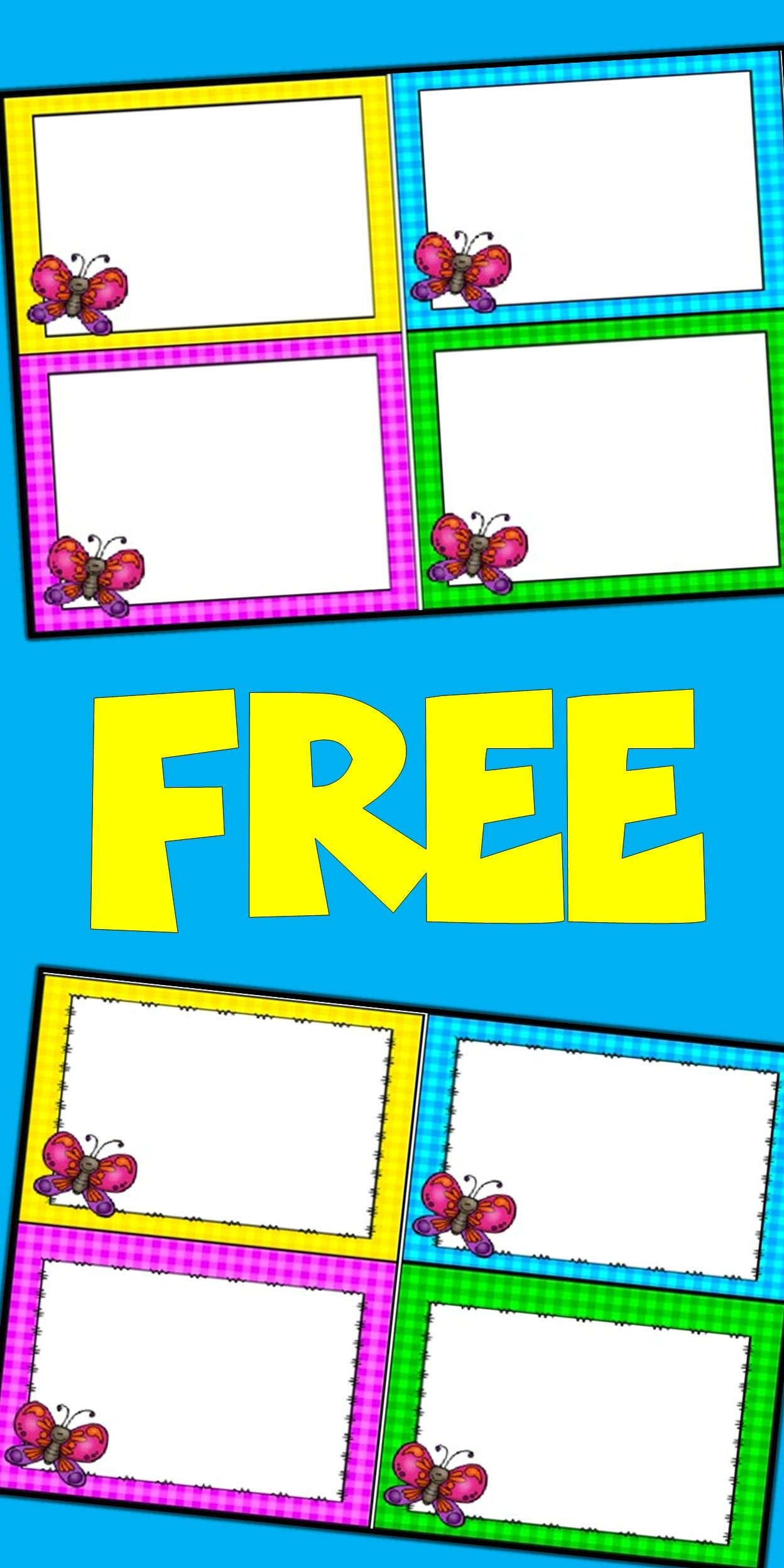 Free Editable Spring Card Templates   Butterflies   Butterfly - Free Printable Blank Task Cards