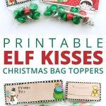 Free Elf Kisses Bag Toppers   Christmas Theme   Christmas Treat Bags   Free Printable Christmas Bag Toppers