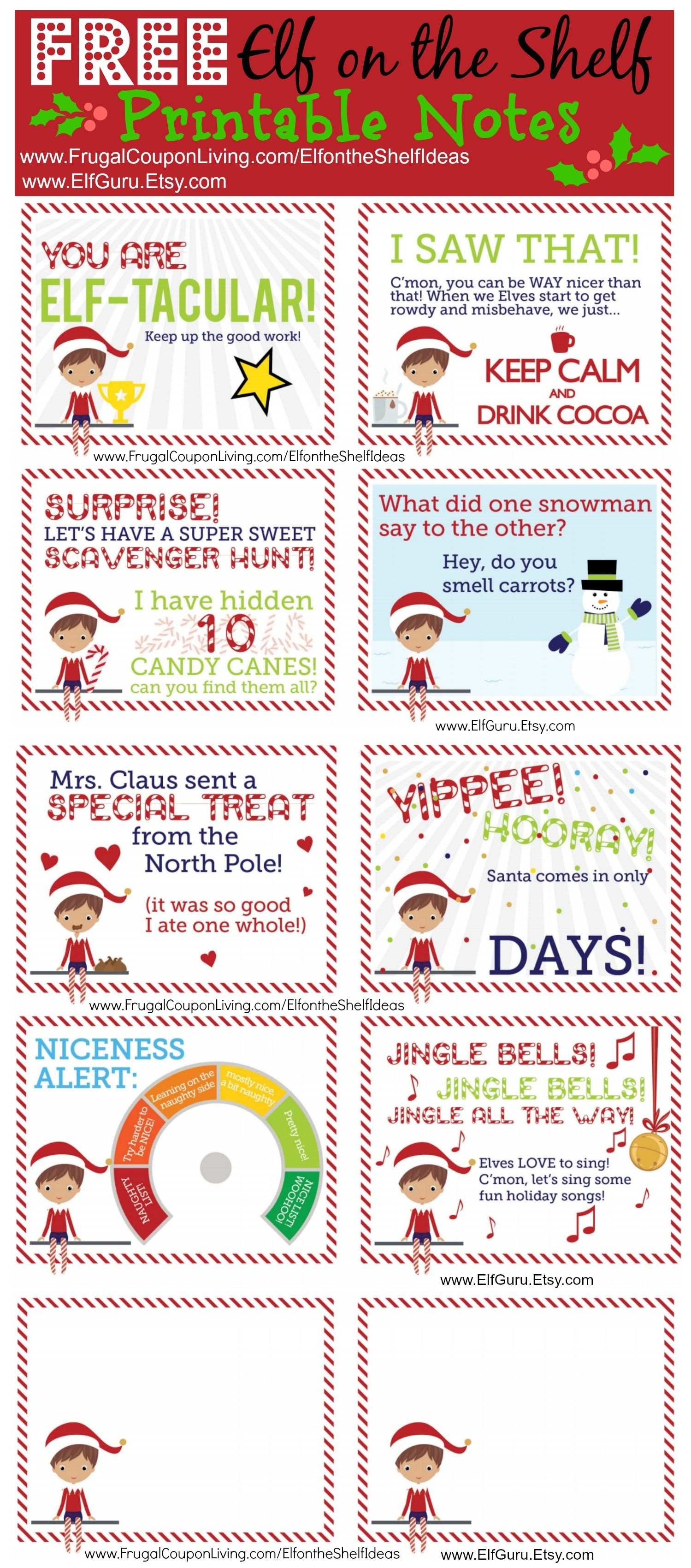 Free Elf On The Shelf Notes. | Holiday: Elf On The Shelf Ideas | Elf - Free Printable Elf On The Shelf Notes