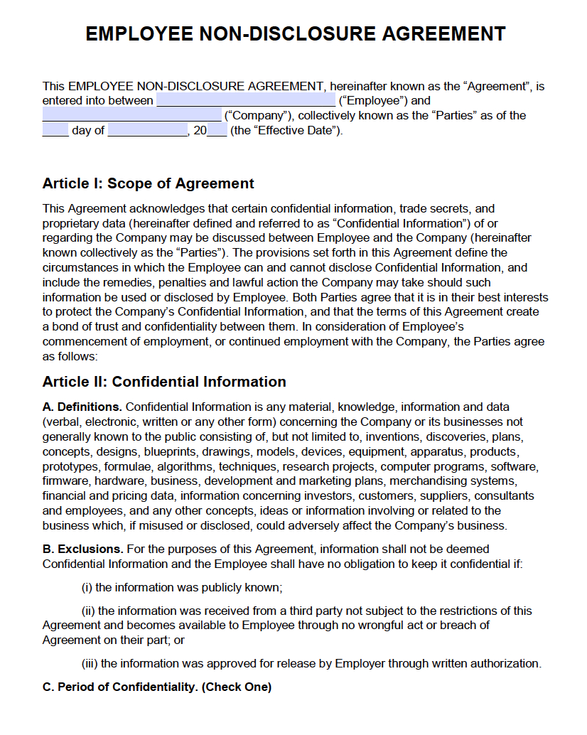 Free Employee Non-Disclosure Agreement (Nda) | Pdf | Word (.docx) - Free Printable Non Disclosure Agreement Form