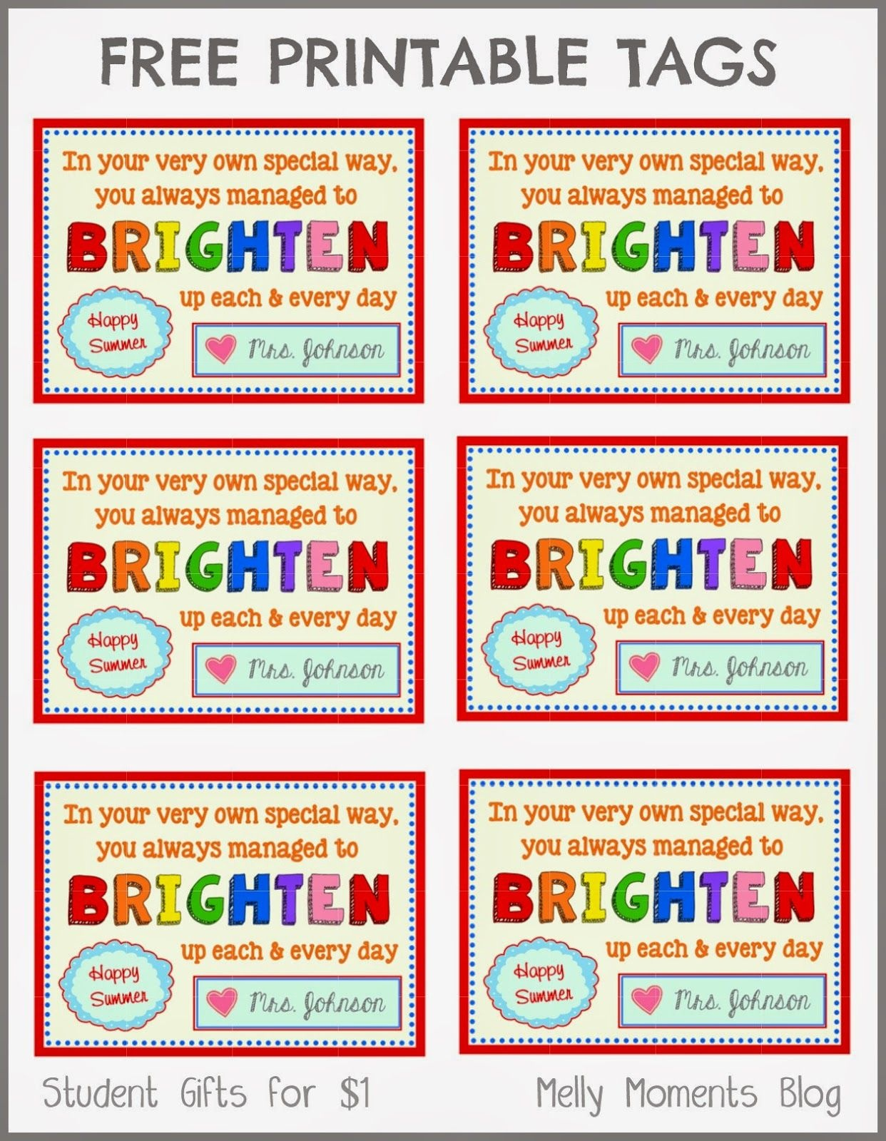 Free End Of Year Gift Tag Printables From Teacher To Student - Free Printable Gift Tags For Bubbles