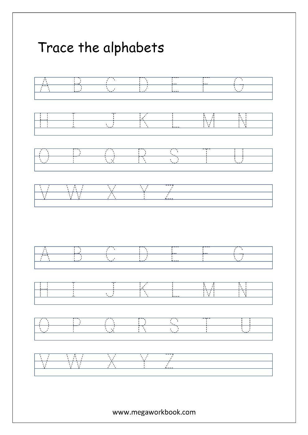 Free English Worksheets - Alphabet Tracing (Capital Letters - Free Printable Tracing Alphabet Worksheets