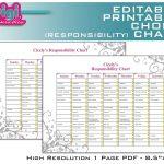 Free Family Chore Charts Printable | Editable / Printable Chore   Free Printable Chore List For Teenager