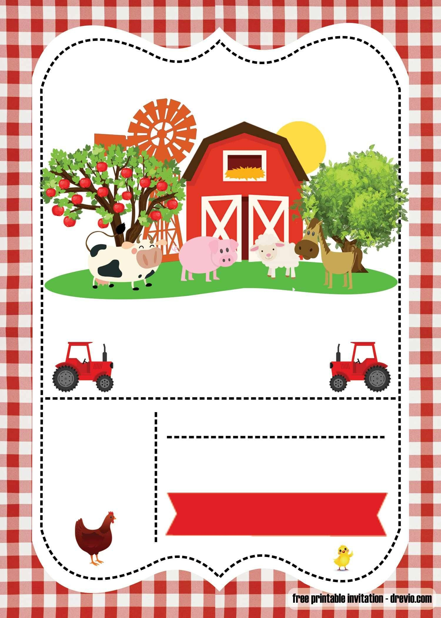 Free Farm Party Invitation Template - Printable | Abigail - Free Printable Farm Birthday Invitations