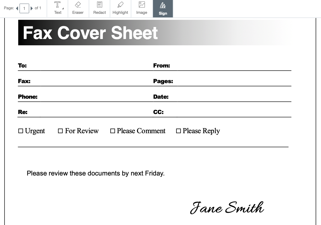 Free Fax Cover Sheet Templates – Pdf, Docx, And Google Docs - Free Printable Fax Cover Sheet Pdf