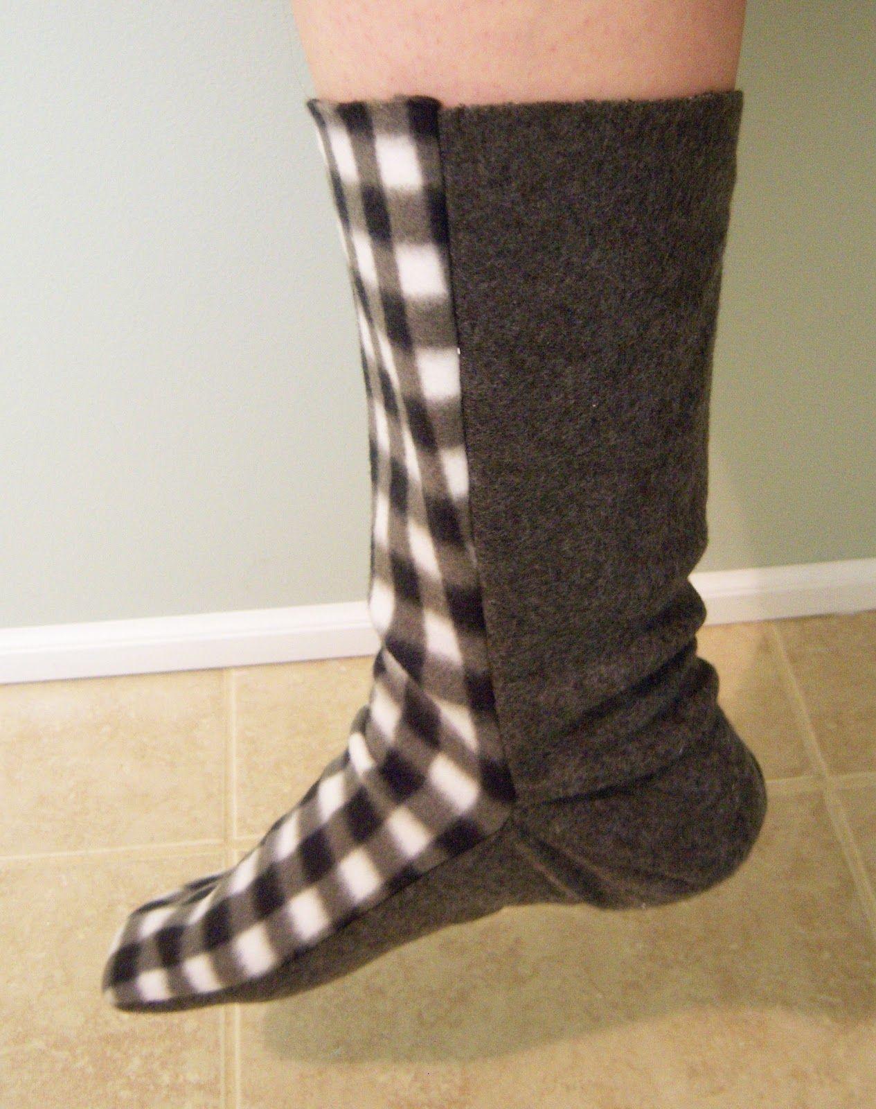 Free Fleece Sock Sewing Pattern   Fleece Sock Tutorial   Sewing - Free Printable Fleece Sock Pattern