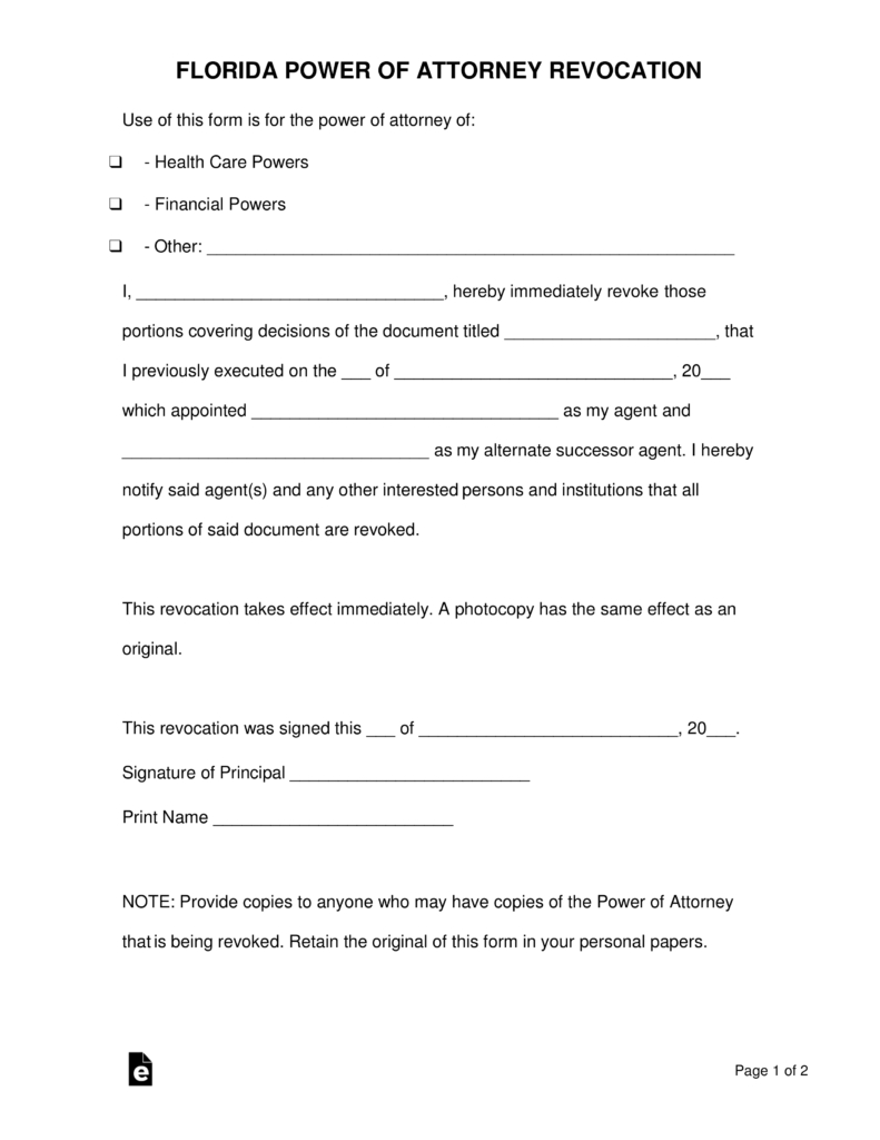 Free Florida Revocation Of Power Of Attorney Form - Pdf | Word - Free Printable Power Of Attorney Form Florida