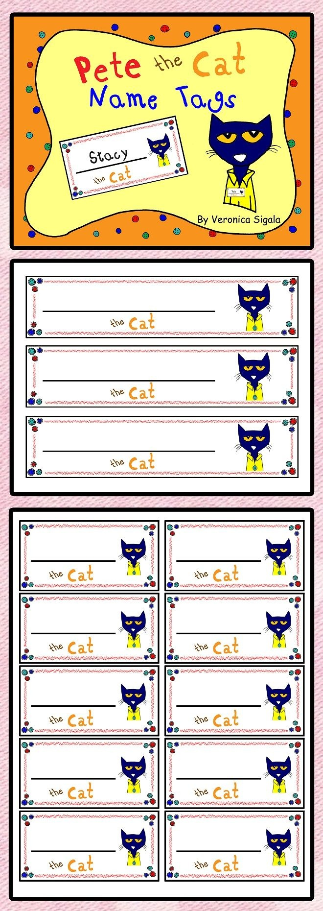 Free! Free! Free! Pete The Cat Name Tags. Your Kiddos Will Love - Free Printable Name Tags For Preschoolers