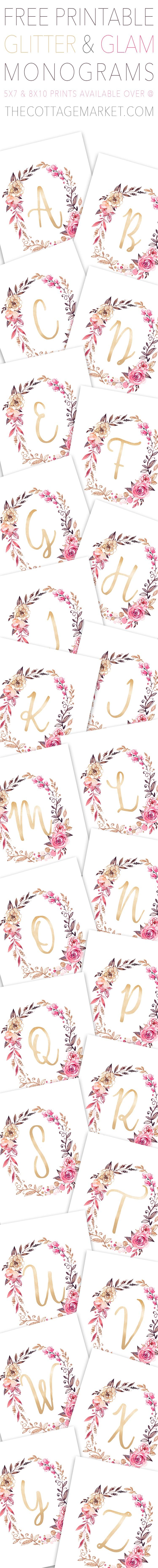 Free Glitter And Glam Monogram Printables   The Cottage Market - Free Printable Monogram Letters