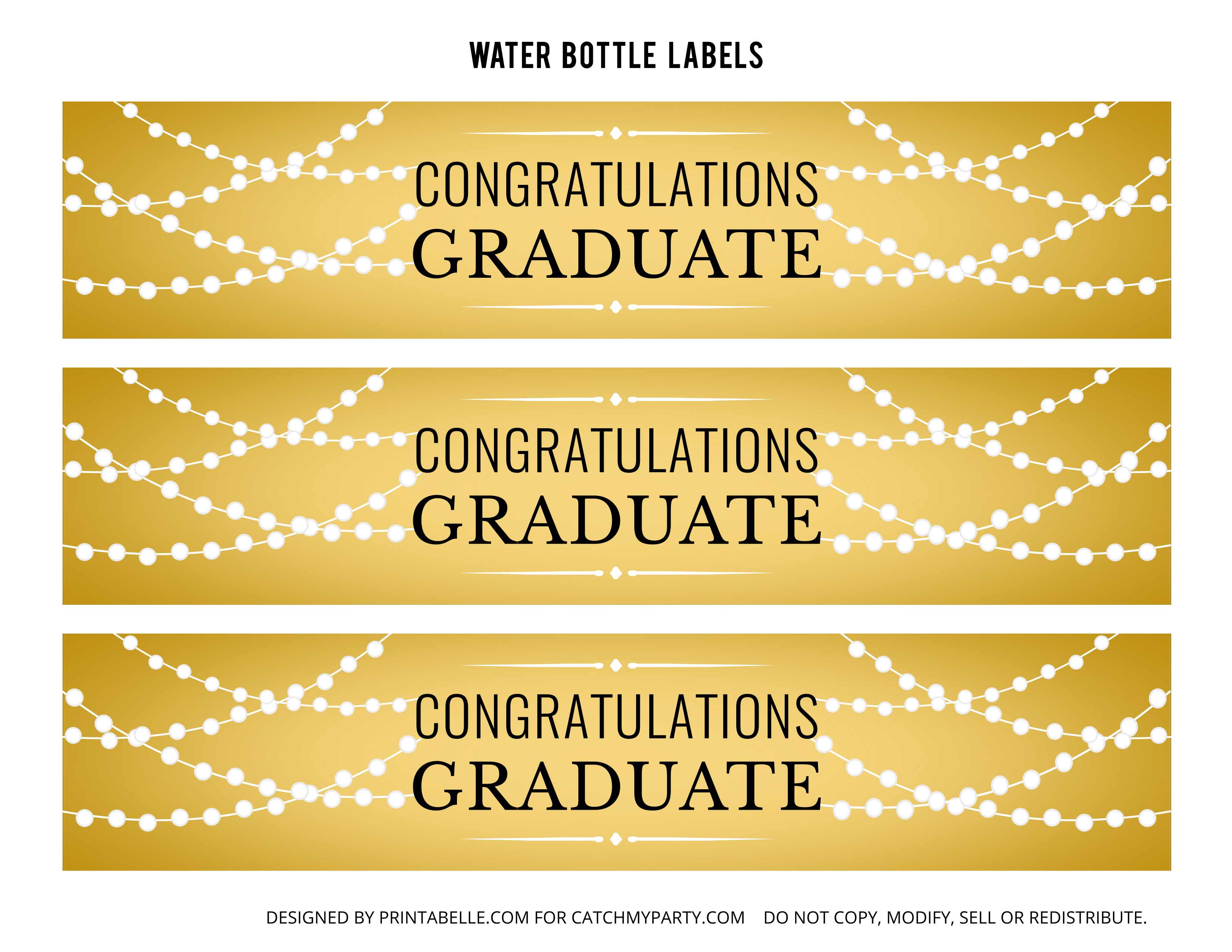 Free Gold Graduation Printables   Catch My Party - Free Printable Water Bottle Labels Graduation