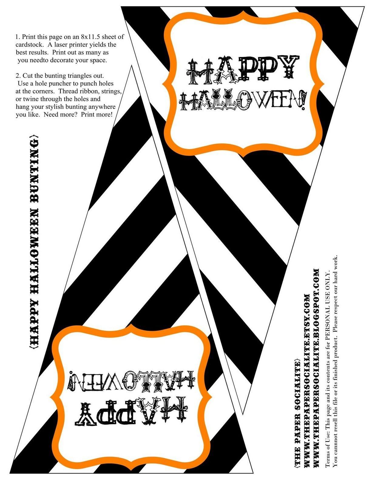 Free Halloween Bunting Printable | Halloween | Halloween Bunting - Free Printable Halloween Banner Templates