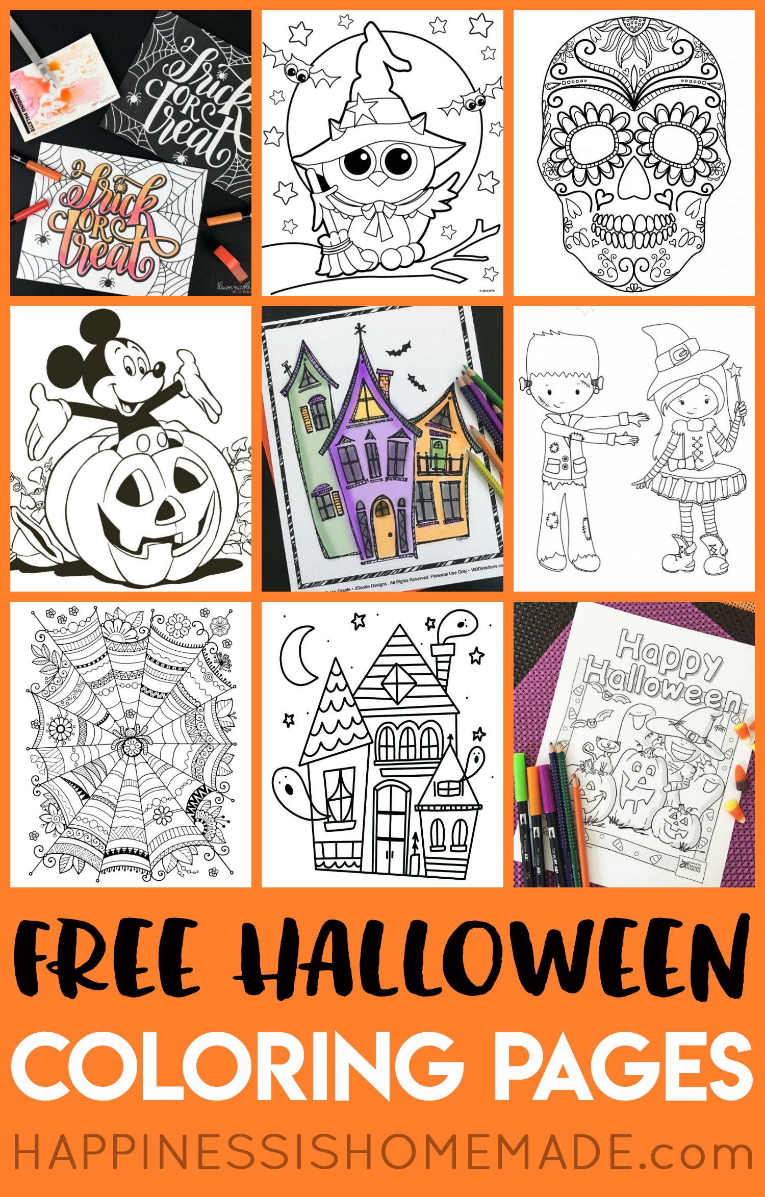 Free Halloween Coloring Pages For Adults & Kids - Happiness Is Homemade - Printable Halloween Cards To Color For Free