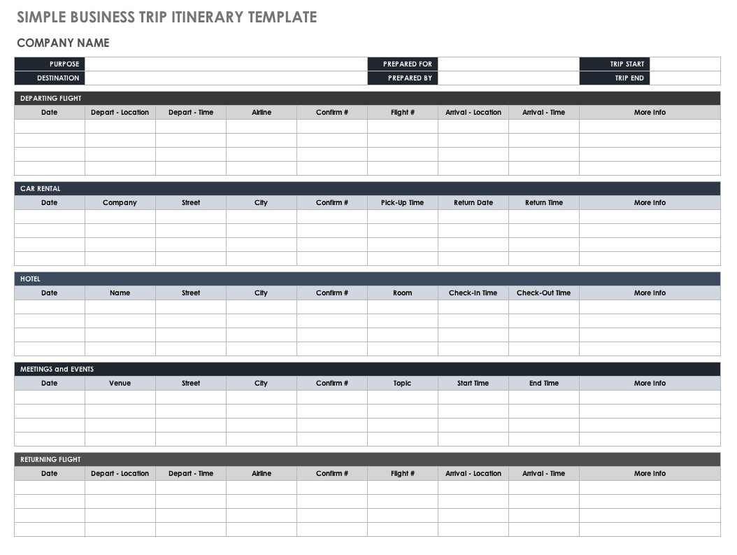 Free Itinerary Templates | Smartsheet - Free Printable Itinerary