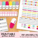 Free Kawaii Pills Planner Stickers   Printable And Cut Files   Free Printable Kawaii Stickers