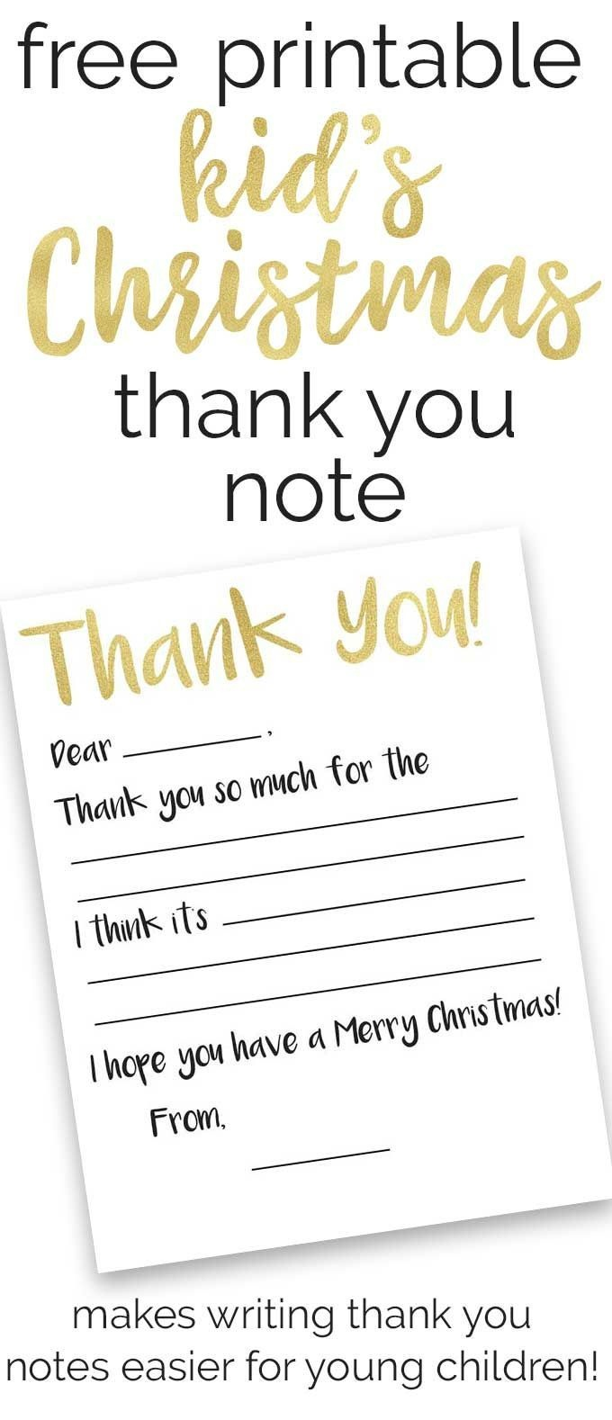 Free Kid's Thank You Note Printables | Christmas | Thank You Gifts - Free Printable Volunteer Thank You Cards
