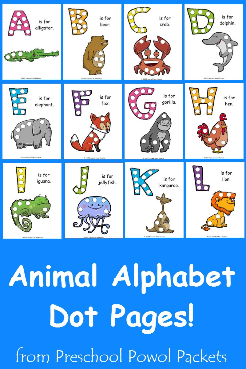 Free} Letter A Animal Alphabet Dots Printable! | Preschool Powol Packets - Free Printable Animal Alphabet Letters