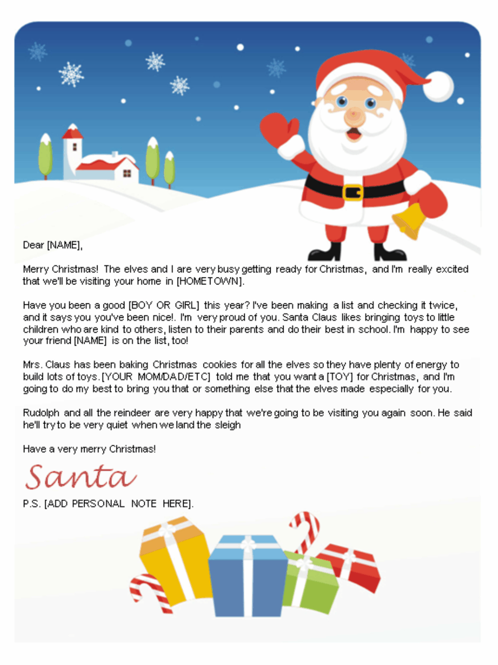 Free Letters From Santa   Santa Letters To Print At Home - Gifts - Free Printable Letter From Santa Template
