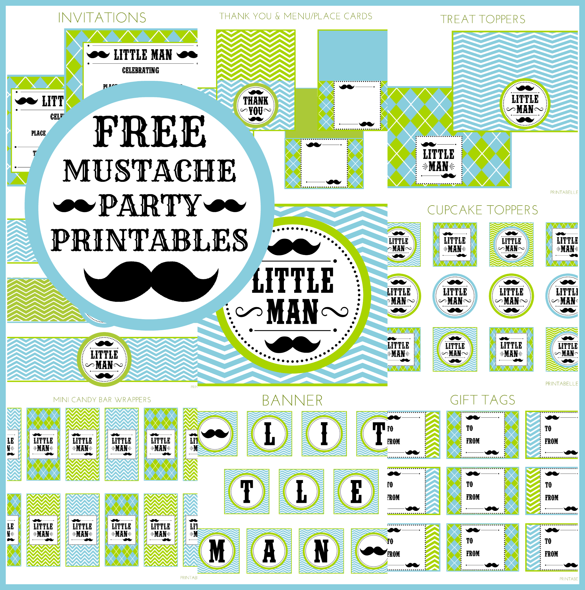 Free Little Man Mustache Bash Party Printables From Printabelle - Free Printable Mustache Invitations