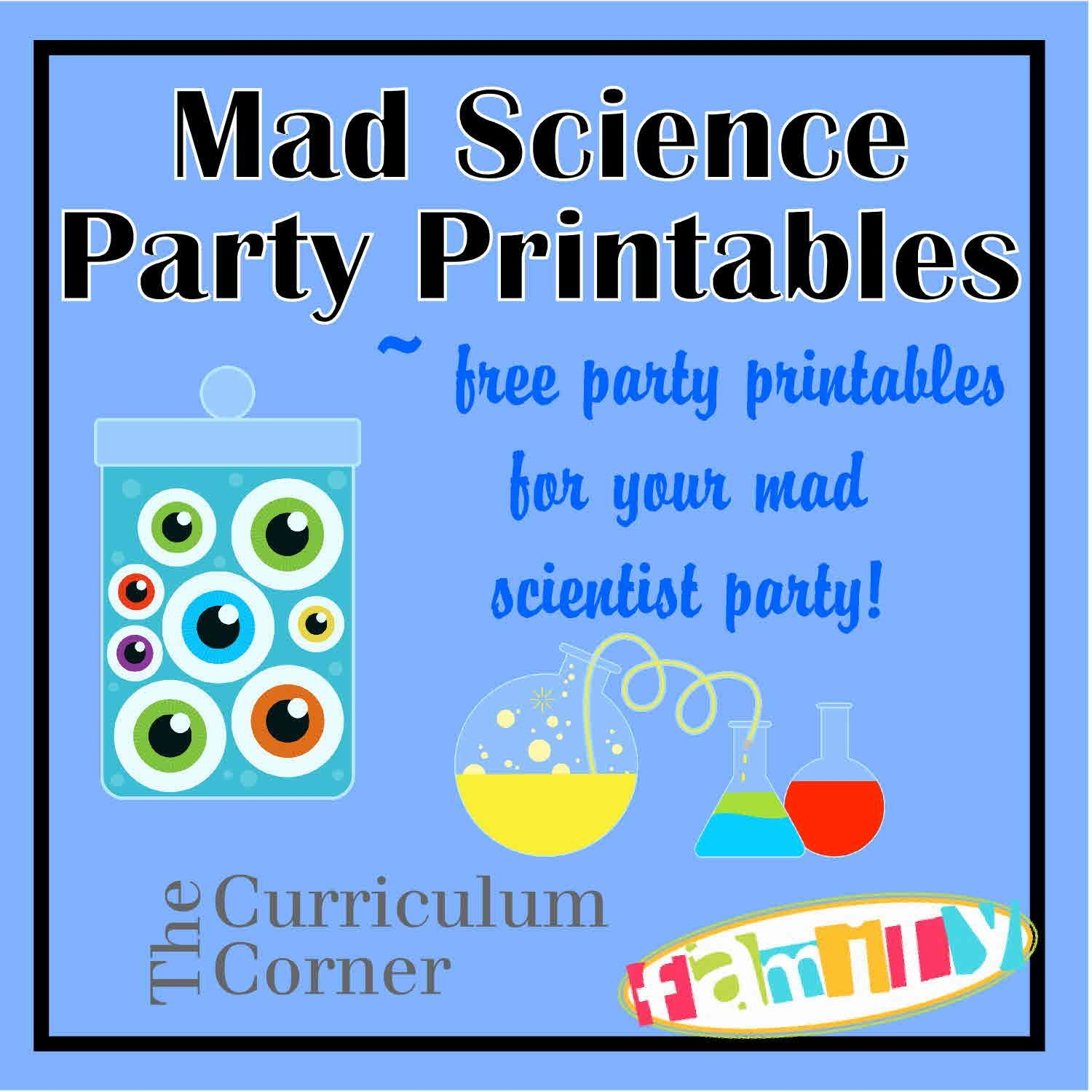 Free Mad Scientist Party Printables From Www - Free Printable Science Birthday Party Invitations