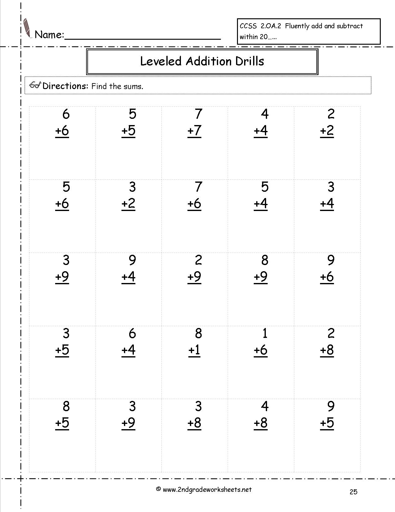 Free Math Worksheets And Printouts - Free Printable Worksheets For 2Nd Grade