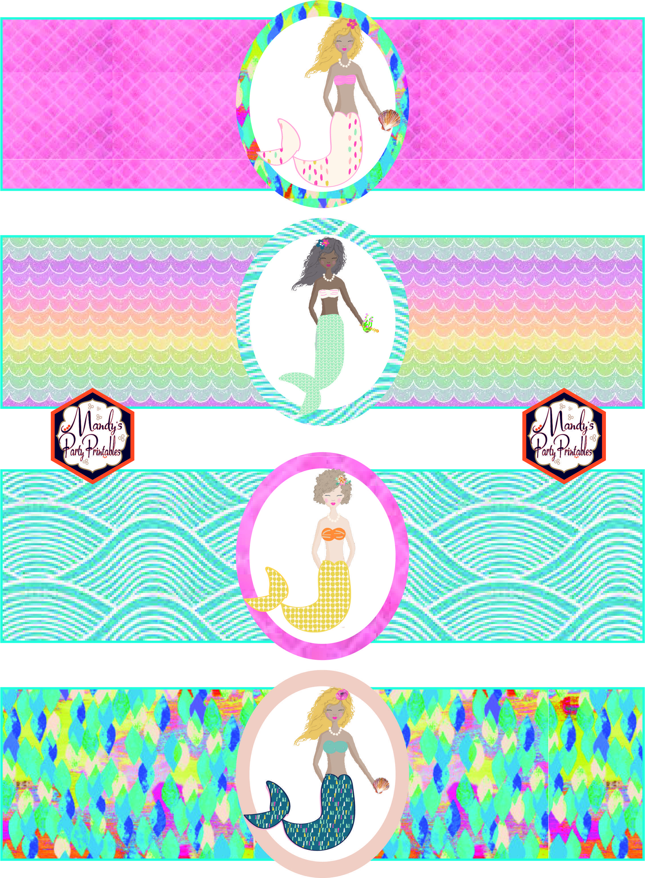 Free Mermaid Birthday Party Printables   Party Printables   Mermaid - Free Printable Little Mermaid Water Bottle Labels