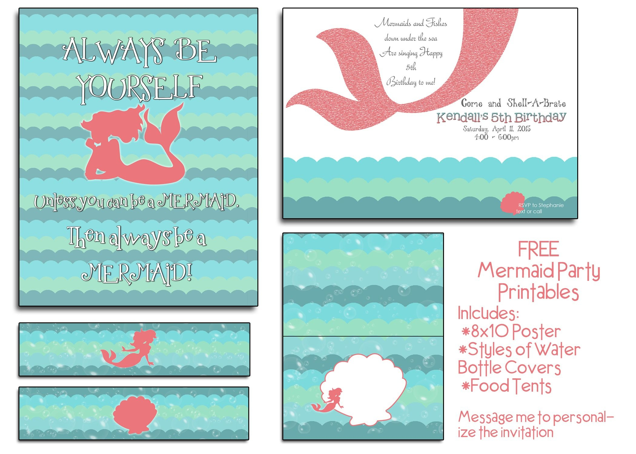 Free Mermaid Party Printables! I Will Even Customize The Invite At - Mermaid Party Invitations Printable Free