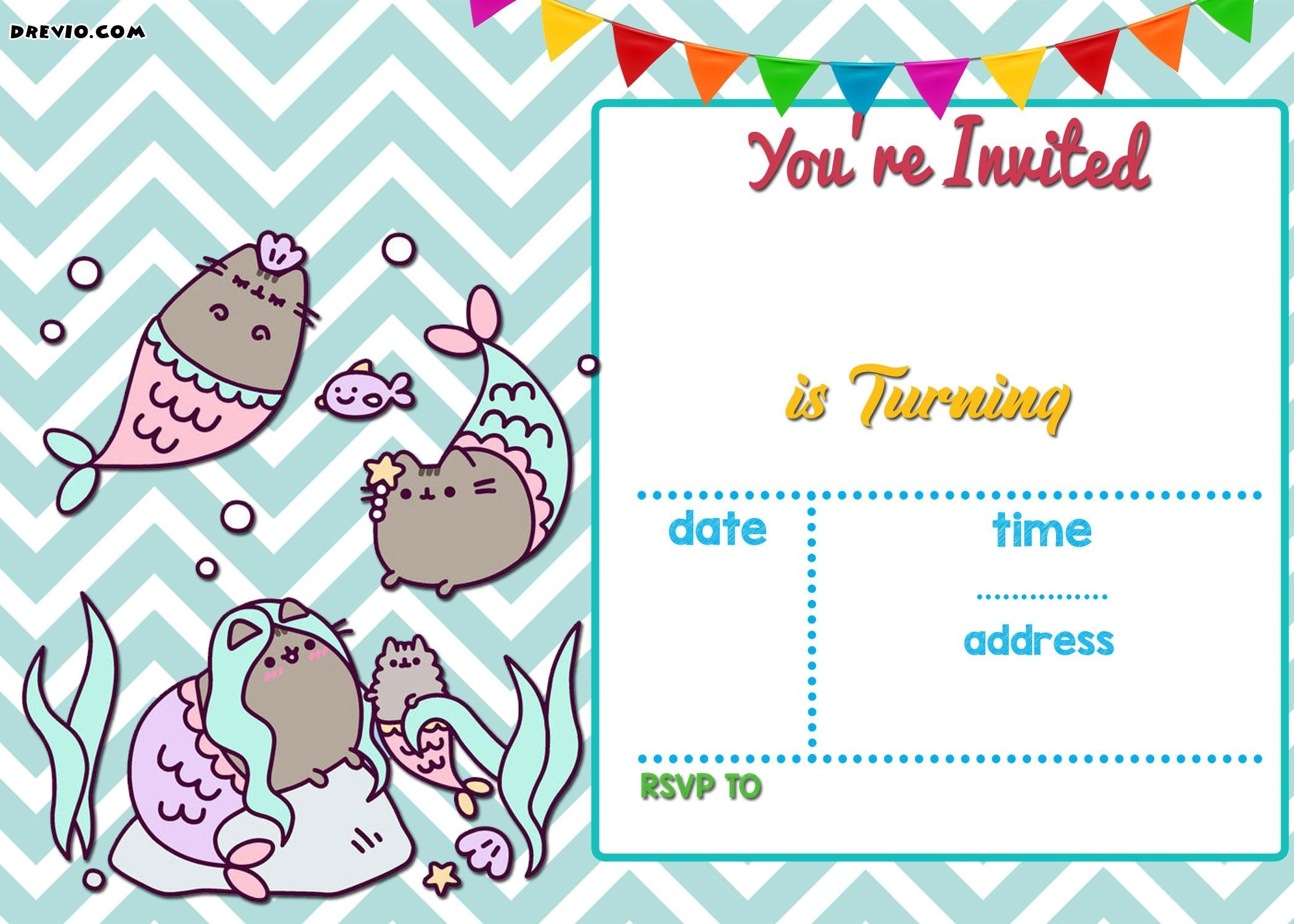 Free Mermaid Pusheen Invitation Templates Free Printable Birthday - Mermaid Birthday Invitations Free Printable
